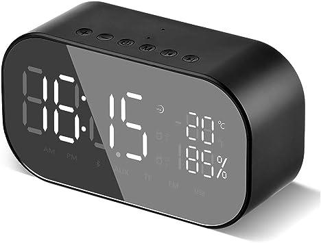 iitrust Radio Réveil à FM avec Double Alarme, Mini Enceinte Bluetooth Réveil, HorlogeRadio FMAppel Mains Libres et TF & AUX, Micro intégré, Horloge