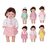 Huang Cheng Toys For 14-16 Inch Alive Baby Doll Handmade Lovely Dress Barbie Clothes Outfits Costumes Dolly Pretty Doll Cloth Accessories Cap Set of 6 Girl Christmas Birthday Gift