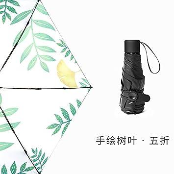 Paraguas paraguas personalizados sun ultra pequeño y ligero y filtro solar UV paraguas plegable, cinco