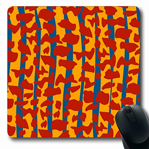Ahawoso Mousepad Oblong 7.9x9.8 Inches Blue Camo Modern Tiger Stripe Camouflage Abstract Khaki Colour Enemy Hidden Invisible Lizard Design Office Computer Laptop Notebook Mouse Pad,Non-Slip Rubber