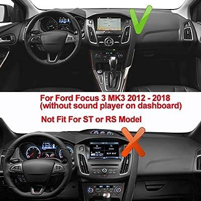 Oneuda Flannel Dashmat Dashboard Cover Dash Pad Car Mat Carpet Sun Shade For Ford Focus 3 Mk3 2012 2013 2014 2015 2016 2017 2018 Anti Slip Dash Board