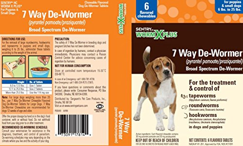 SENTRY HC WormX Plus 7 Way De-Wormer For Small Dog, 2 Chewable ()