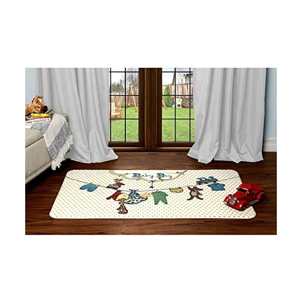 Evolur Home Nursery Bedroom/Livingroom/BabyPlaymat/ChildrensRug/PlayRug/KidsRug/Baby Boy, Floormat Rug 55'x31.5'