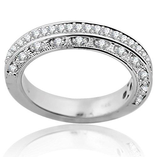 14K White Gold Wedding Band Anniversary Ring 1/3ctw Diamonds Pave Set Filigree (i2/i3, i/j) (Pave Filigree Ring)