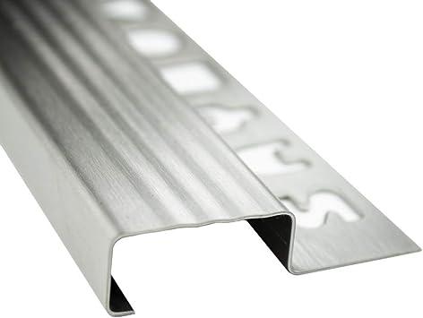 10 x acero inoxidable Nivel Perfil azulejos regleta Perfil Escaleras Carril l250 cm h10 mm cepillado 25 mm: Amazon.es: Bricolaje y herramientas