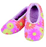 Snoozies Womens Sequin Daisy Ballerina Cozy Sherpa Non Skid Slipper Socks - Pink, Large