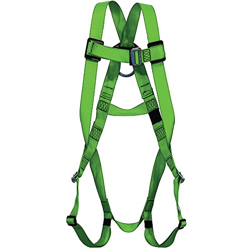 Peakworks Fall Protection V8001000 Industrial, Construction, ANSI Compliant Safety Harness, Universal Fit, Green