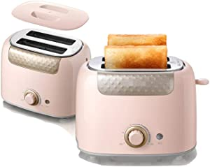 Stainless steel 2-piece toaster, automatic double-sided toaster, breakfast machine toaster toaster, super wide slot and high lifting function,Bread machine-Pink