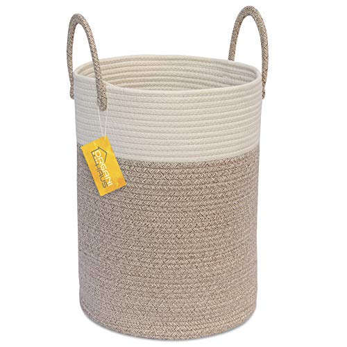 - 	 OrganiHaus Cotton Rope Basket in Brown and Off-White | Tall Blanket Storage Basket with Long Handles | Decorative Hamper Basket | Soft Toy Storage Bin | Perfect as Laundry or Clothes Hamper