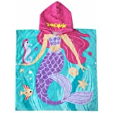 Mermaid Hooded Towel for 18 Month to Six Years Toddler and Child Girls Kids Home Bath Beach Pool Towels with Hood Warm Thick for Autumn and Winter