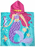 Athaelay Hooded Towel for Girls 1 to 5 Years Old Kids and Toddlers 100% Premium Cotton Ultra Soft, Super Absorbent, Extra Large 48'' x 24'', Use for Bath/Pool/ Beach Times, Mermaid Theme