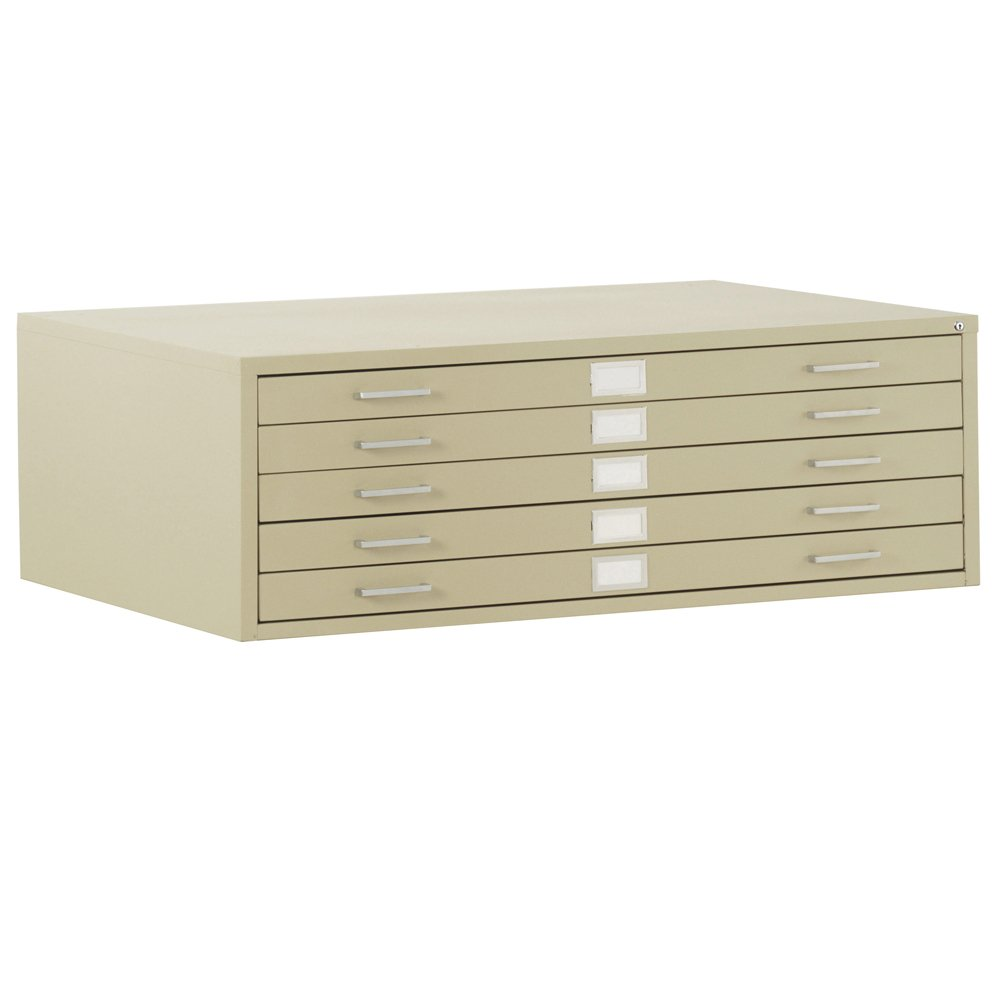 Sandusky Lee 244876PU Putty Steel 5 Drawer Flat File, 16-1/8'' Height x 40-3/4'' Width x 28-3/8'' Depth by Sandusky