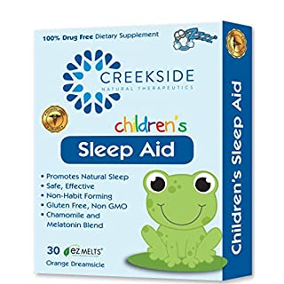 Creekside Naturals Sleep Aid for Children, with Melatonin and Chamomile, Zero Sugar, Vegan, Pediatrician Formulated, Orange Dream Flavor, 30 EZ Melt Tablets