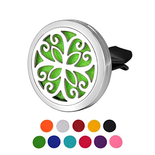 HOUSWEETY Car Air Freshener Aromatherapy Essential Oil Diffuser - Butterfly Stainless Steel Locket,11 Refill Pads (Butterfly-30mm)