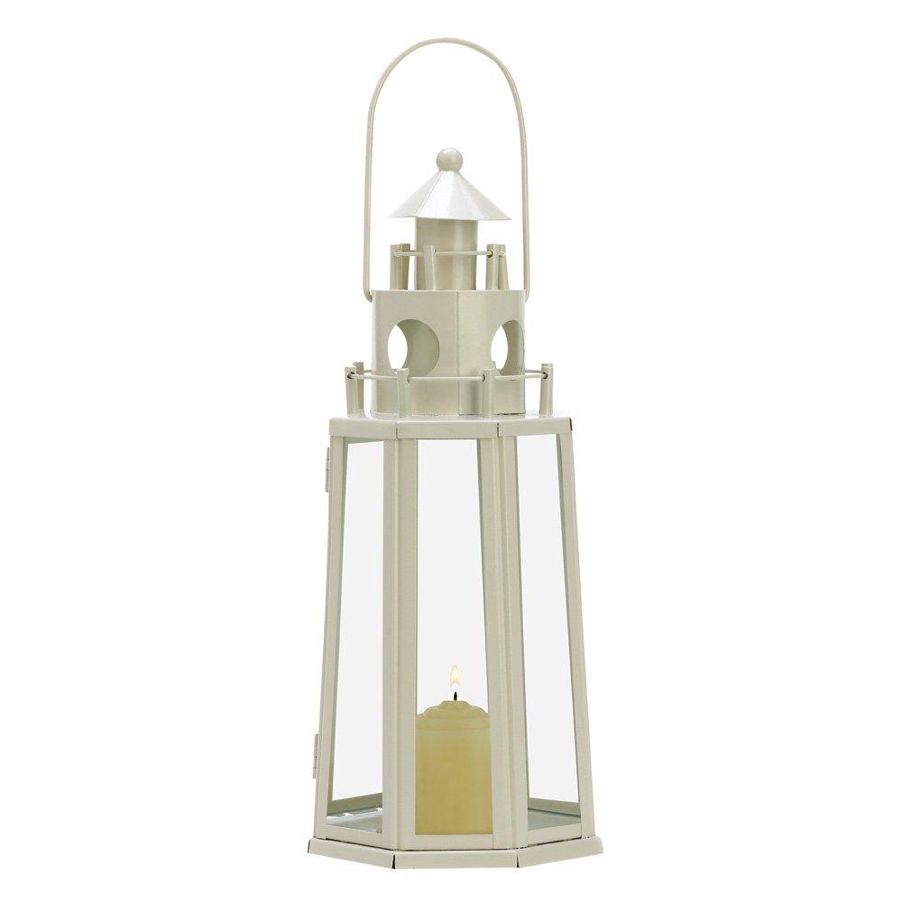Amazon.com: Gifts & Decor Ivory Lighthouse Candle Holder Outdoor ...