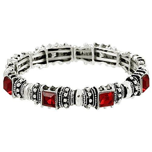Falari Vintage Acrylic Crystal Antique Silver Stretch Bracelet Red & Siam B0002-09