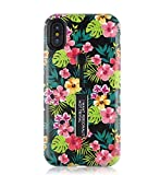 iPhone XR Case,Ebetterr Flower Floral Rugged Dual Layer Finger Strap Case Protective Phone