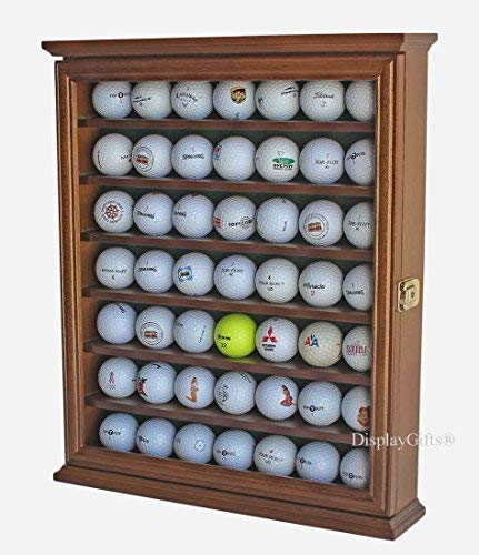 - 49 Golf Ball Display Case Cabinet Holder Rack w/Lockable, (Walnut)