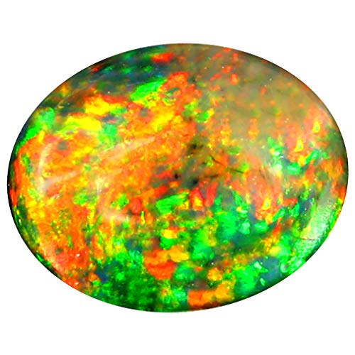 3.50 ct Oval Cabochon Cut (13 x 10 mm) Ethiopian Play of Colors Black Opal Loose Gemstone
