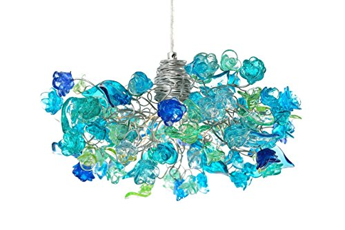 Pendant Ceiling lighting with sea color flowers and leaves, for living rooms, Kitchen island, bedroom or as bedside (Hand Painted Flowers Pendant Lamp)