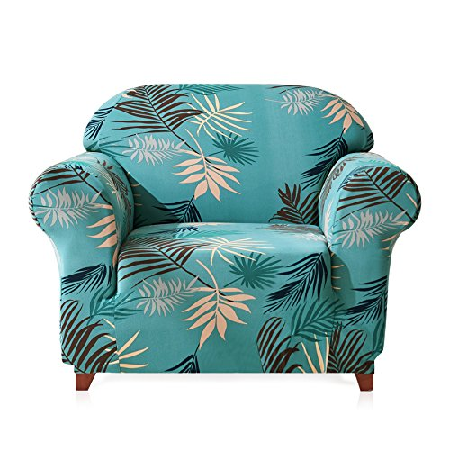 Subrtex 1-Piece Leaves Printed Stretch Sofa Slipcovers, Chair, Green ()