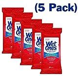 Wet Ones Antibacterial Hands & Face Wipes, 20 Count Travel Pack 100 Wipes Total by Wet Ones Antibacterial Wipes
