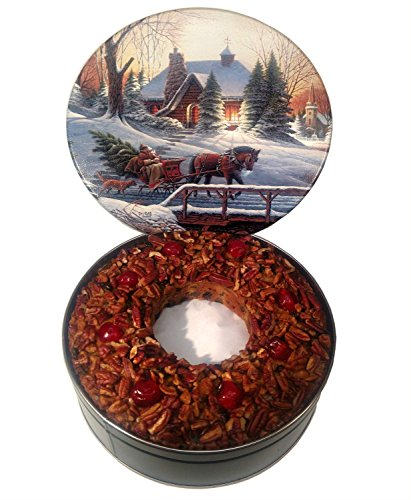 Jane Parker Classic Light Fruit Cake 72 Ounce Ring in a Holiday Tin
