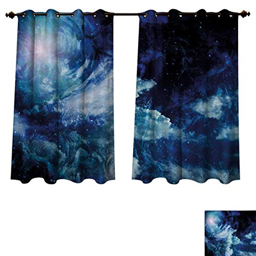 (RuppertTextile Space Blackout Curtains Panels for Bedroom Nebula Gas Cloud on Celestial Sphere Universe Themed Infinity Design Galaxy Art Print Decor Curtains Dark Blue W55 x L63 inch)