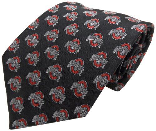NCAA Men's Ohio State Buckeyes Repeating Primary Necktie, Scarlet/Grey/Black
