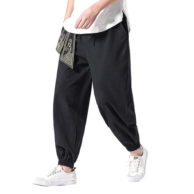 e9b3237bca wodceeke Cotton Linen Pants, Men Summer Solid Color Wide-Legged Casual  Elastic Waist Beach