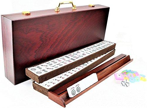 4 Pushers and Brand New Complete American Mahjong Set in Wooden Case, 166 Tiles(Mah Jong mah Jongg Mahjongg) by KAI TAI INC