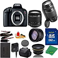 Great Value Bundle for T7I DSLR – 18-55mm STM + 75-300mm III + 32GB Memory + Wide Angle + Telephoto Lens + Case