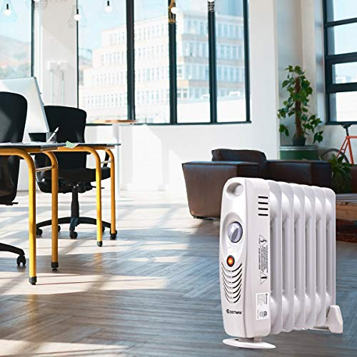 152cd923ca7 Costway Oil Filled Radiator Heater Mini Space Heater Portable Electric  Heater Room Thermostat 700W (14