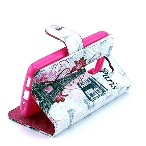 Uming Pattern Print PU La caja del teléfono Funda protectora para LG G2Mini Mini D620 patrones de dibujo Impresión colorida del tirón Funda con ranura soporte Stander del sostenedor de la mano la tarj Triumphal arch Tower