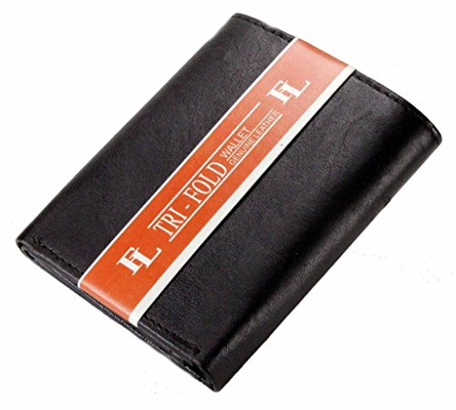 Wallet New Mens Trifold Leather Wallet Multi Pockets Classic Style Card ID Lambskin-Black