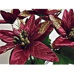 4-Bushes-Burgundy-Christmas-Poinsettia-Artificial-Silk-Flowers-12-Bouquet-7-2209-BU