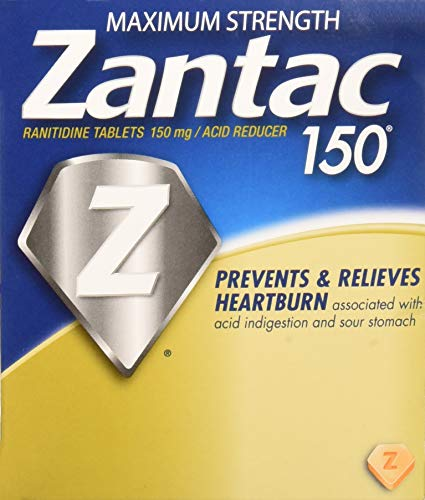- Zantac Maximum Strength 150 Ranitidine, Acid Reducer, 25 Packets (Pouches) of 1 Tablet