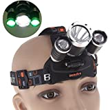 Topwell® Tactical Blacklights Green/ Red/ Blue LED headlamps 5000LM 3 x CREE XM-L T6 + 2 x R5 Green/ Red/ Blue LED Head Headlight Torch Lamp Blue Lights Sports Headlamps for Hunting Green Night Fishing Blue Lights Red Spotlight with Direct Charger
