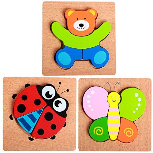 Fengirl 3 Pack Wooden Animals Shape Jigsaw Puzzle Preschool