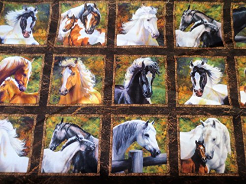 Sixty 3 1/2 inch Pictures, Horses, Wild and Free, Northcott, Laurie Snow Hein, 24 inch (Laurie Snow)