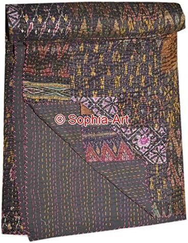 Indian Quilt King Dark Brown Patchwork Handmade Bed cover Bedspread Vintage Boho