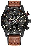 Mens Leather Strap Watches 30M Waterproof IP Black Plating Steel Classic Casual Dress Analog Quartz Watch