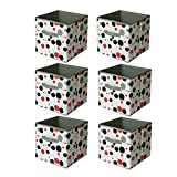 6 pcs Home Storage Box Household Organizer Fabric Cube Bins Basket Container, Gray Five Circles