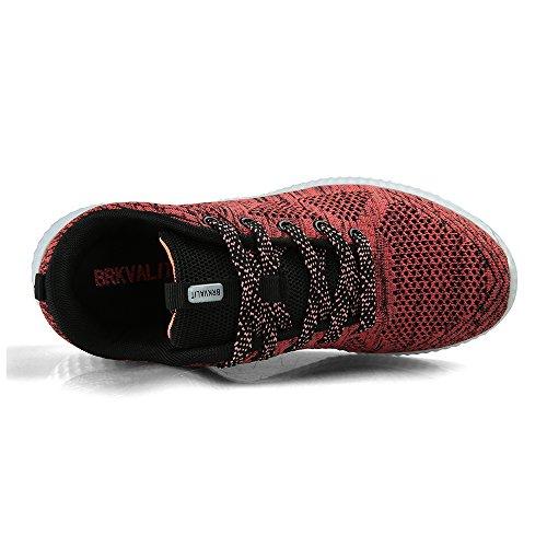 Homme Femme Sneakers Foncé Running Sports Rouge De Course Gym Fitness Chaussures Athlétique a47paTn