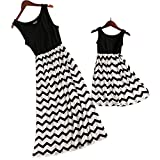 PopReal Mommy and Me Vintage Striped Sleeveless Wave Prints Summer Beach Matching Maxi Dress
