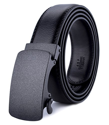 Xhtang Men's Ratchet Belt Automatic Buckle Genuine Leather belt 35mm Wide M