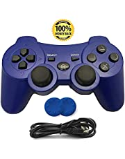 PS3 Controller, Wireless Bluetooth Gamepad Double Vibration Six-Axis Remote Joystick for Playstation 3 with Charging Cord (Blue)
