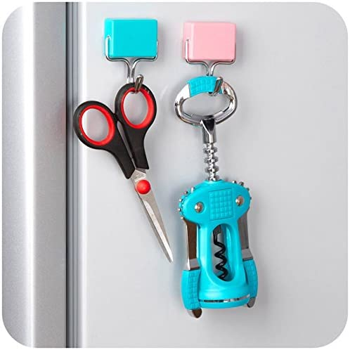 All-Purpose Magnetic Hooks Kitchen Strong Magnetic Hooks for Keys,Coat,Fridge and Doors Pastel Pink, Yellow, Blue (3PCS)