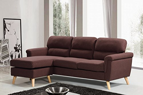 Harper&Bright Designs Modern Linen Fabric Sectional Sofa L Shape Couch with Reversible Chaise Loung (Brown)