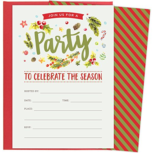 Christmas Party Invitations for Holiday Celebrations. Set of 25 Red Envelopes and Fill in the Blank Style Invites. Festive Design Winter Florals and ()